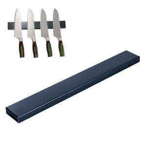 Edelstahl Messerhalter Schwarz 40cm | Magnetleiste Messerblock | Magnet Messerleiste Küchenmesser | Universal Messer Leiste Magnetisch