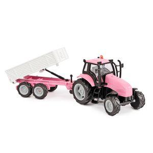Kids Globe Traffic Tractor met Aanhanger Roze + Licht en Geluid.