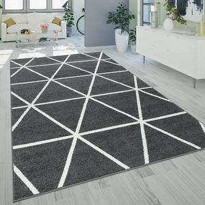 Ethno Teppich Wohnzimmer Grau Anthrazit Rauten Muster Strapazierfähig Kurzflor, Grösse:140x200 cm