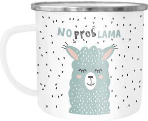 Emaille-Tasse Becher Spruch No Prob Lama Motiv lustig Kaffeetasse Kindertasse Moonworks® weiß-metall Emailletasse
