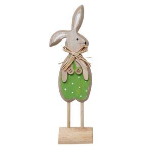 Blauth Hase Holz grün Osterhase Osterdeko Frühlingsdeko 8x6x24cm