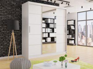 Mirjan24 Schiebetürenschrank Dema, Kleiderschrank, Schlafzimmerschrank mit Spiegel (Farbe: Weiß, ohne Beleuchtung)