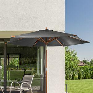 HI 62416 Sonnenschirm Landhausschirm grau 300cm Holzgestell