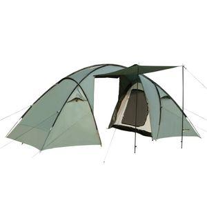 Outsunny Familienzelt Campingzelt 4-5 Personen Großer Stauraum Wasserdicht WS 2000mm mit Dach Grün