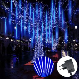 256 LED Meteorschauer Lichterkette Meteor Eiszapfen Lichter Weihnachten Außen Deko, Blau