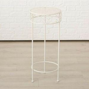 Hoher Beistelltisch weiß Metall Telefontisch Pflanzentisch Blumenständer Tisch(Großer Tisch: 30 x 70 cm)