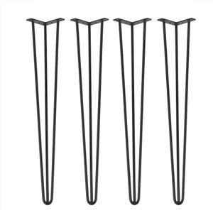 4x Hairpin Legs Tischbein Tischkufen Tischgestell Haarnadelbeine Metall Stützfuß 76cm Schwarz