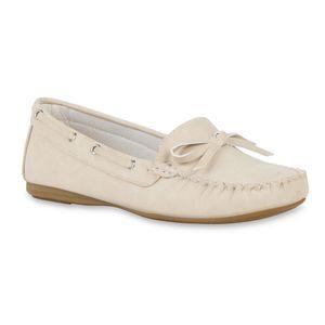 Giralin Bequeme Damen Halbschuhe Mokassins Schleifen Schuhe 71083, Farbe: Beige, Größe: 38