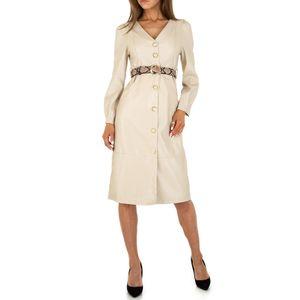 Ital-Design Damen Kleider Cocktail- & Partykleider Creme Gr.s