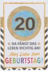 Originelle Klappkarte mit Zahlen Geburtstagskarte Zahlenmotiv zum 20.Geburtstag