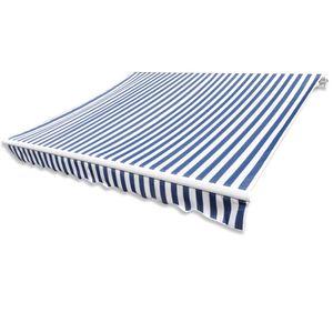Hommie® Markisenvolant Markisenstoff Markisentuch - Canvas Blau & Weiß 3 x 2,5 m (ohne Rahmen) ❤5769