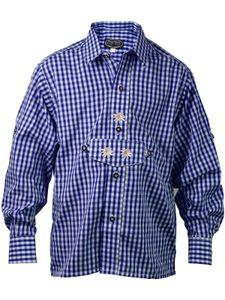 Kariertes Kinder  Trachtenhemd aus 100% Baumwolle, Größen:116, Farben:blau