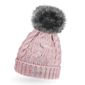 Warme Strickmütze Damen Wintermütze Bommelmütze Zopfmuster gefüttert mit Bommel Neverless® rosa unisize