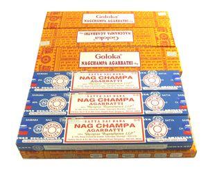 Nag Champa Räucherstäbchen gelb + blau je 6 Packungen Räucherwerk gemischt
