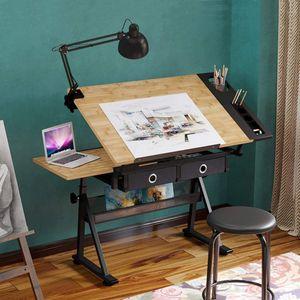Dripex Zeichentisch mit kippbarer Tischplatte höhenverstellbar-Artist Architektentisch inkl.Hocker und 2 Schubladen für Techniker