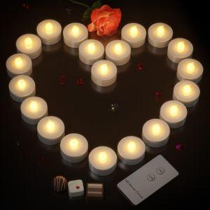 Monzana 20 LED Teelichter mit Fernbedienung Flackernde Batteriebetriebene Kerzen inkl Batterie Warmweiß 3,7cm Elektrisch