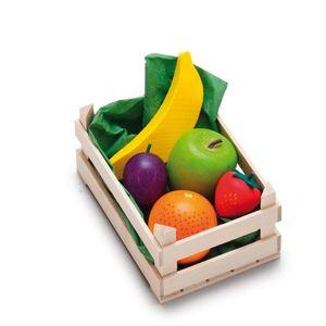 Erzi Sortiment in der Holzsteige Obst, klein, Spielzeug-Lebensmittel, Kaufladenzubehör
