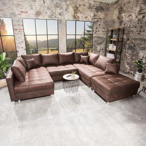Moderne XXL Wohnlandschaft KENT 305cm braun Sofa mit Schlaffunktion Federkern inkl. Hocker und Kissen