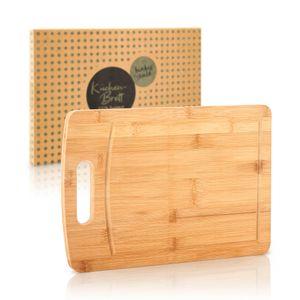 bambuswald© Schneidebrett / Schneideunterlage 100% Bambus - 45x32x1,8cm - Hackbrett, Brotbrett, Küchenbrett, Tranchierbrett, Servierbrett, Holzbrett - ideal für Käse, Brot, Gemüse o. Fleisch X-Large