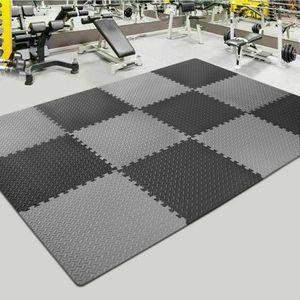 20-tlg Bodenschutzmatten Set Unterlegmatten Bodenschutz Schutzmatten Puzzlematte, 10x Schwarz+10x Grau, 30*30cm