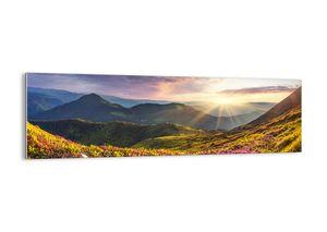 """Glasbild - 160x50 cm - """"Bergmorgen Frische""""- Wandbilder  - Berge Hang Blumen - Arttor - GAB160x50-3152"""