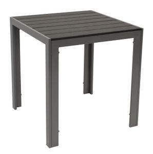 Bistrotisch Gartentisch Alutisch SORANO 70x70cm, Gestell Aluminium silbergrau, Tischplatte Polywood grau, wetterfest