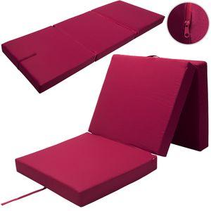 Klappmatratze Faltmatratze Matratze Gästebett 190 x 70 x 10cm inkl. Cover, Farbe:rot