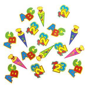Oblique Unique ABC Zuckertüte 123 Zahlen Buchstaben Konfetti Streu Deko 18 Stk - bunt