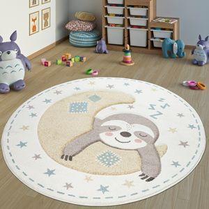 Teppich Kinderzimmer Rund Kinderteppich Mädchen Junge Mit Faultier Motiv, Creme, Grösse:Ø 160 cm Rund