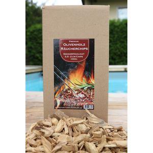 PREMIUM Olivenholz Räucherchips 1KG 0,5cm-2,0cm / Perfekt geeignet zum Räuchern und Smoken oder auch Grillen