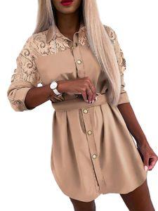 Damen Button-Down-Shirt Kleid Langarm lässig Long Top T-Shirt,Farbe: Khaki,Größe:L