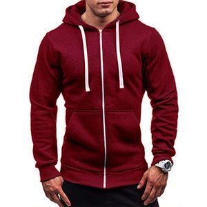 Herren Herbst Und Winter Pullover Kapuzenjacke Tops Casual Tops Jacken Sweatshirts,Farbe: Rotwein,Größe:L