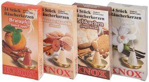 KNOX - 4er Set Räucherkerzen Bratapfel, Gebrannte Mandeln, Lebkuchen, Vanille