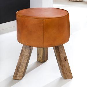 WOHNLING Design Sitzhocker WL5.102 Holz 37x45x37 cm Modern Fußhocker Rund | Turnbock Lederhocker Holzbeine | Kleiner Hocker Massivholz mit Leder Gepolstert  | Holzhocker mit Echtleder Braun