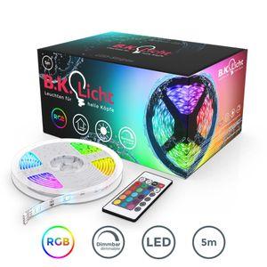 LED Stripes 5m Lichterkette Lichtleiste Band Lichtschlauch mit Farbwechsel Inkl. Fernbedienung RGB LED Streifen Leiste selbstklebend IP20/IP44 B.K.Licht