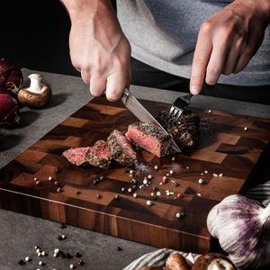 Navaris 6x Steakmesser Set mit Holzgriff - Besteck Messer 6-teilig - Besteckset aus Edelstahl und Holz mit Geschenkbox - Wellenschliff Steakbesteck