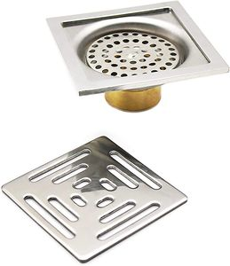 Quadratische Bodenablauf Edelstahl Anti Geruch Badezimmer Bodenablauf mit Filter Abnehmbarer,für Toiletten, Badezimmern, Küchen usw(100 x 100 mm)