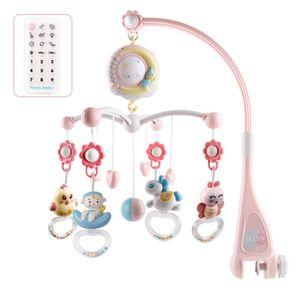 Baby Mobile für Kinderbett Krippe mit Licht und Musik,Projektor und Fernbedienung Rosa