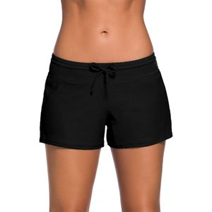 Damen Seite Split Bund Badeshorts Badeanzug Sportlich Übergröße Badebekleidung,Farbe:Schwarz,Größe:XL