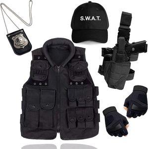 6 in 1- SWAT Kostüm FBI Police Security Erwachsene Kostüm Set mit Veste, Cap, UVM. zu Karneval & Halloween