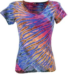 Batik Hippie T-Shirt mit V-Auschnitt - Blau, Damen, Mehrfarbig, Viskose,Elasthan, Tops & T-Shirts