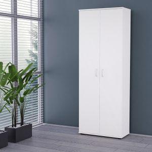 Mirjan24 Kleiderschrank Terni, Stilvoll Schrank vom Hersteller, Standregal mit Türen, Schlafzimmerschrank (Farbe: Weiß)