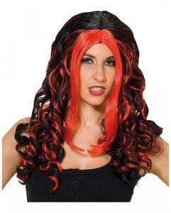 Rot-schwarze Vampir-Perücke für Halloween & Fasching