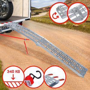 Jago® Auffahrrampe 340kg pro Rampe - 1er Set, Aluminium, klappbar, Antirutsch - Laderampe, Auffahrschiene, Anhängerrampe, Verladerampe, Verladeschiene, Fahrrampe