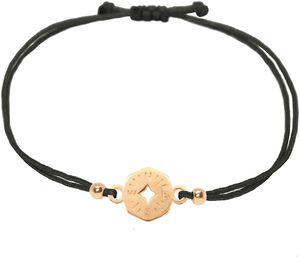 CYE Armband Kompass Rosgold auf schwarzem Band grenverstellbares Makramee Armbndchen Handkl. Geschenkverpackung