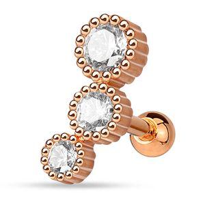 viva-adorno 1,2mm Helix Piercing 3 Kristalle rund Stecker Cartilage Ohrpiercing Knorpelpiercing 316L Chirurgenstahl Z515.D5rosegold