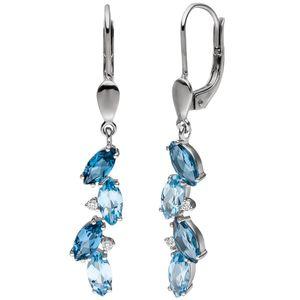 JOBO Ohrhänger 585 Gold Weißgold 4 Diamanten Brillanten 8 Blautopase hellblau blau