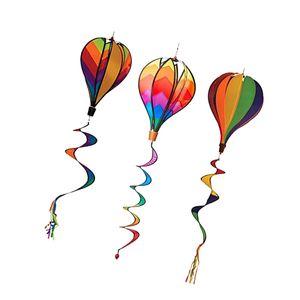 3pcs Heißluftballon Windmühle Windrad Windspiel Garten Balkon mit lockigen Schwanz
