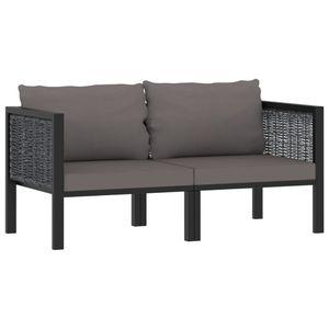 Mllaid 2-Sitzer-Sofa mit Auflage Anthrazit Poly Rattan