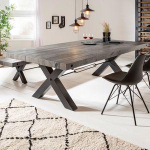 Massiver Esstisch THOR 200cm grau Pinienholz Industrial Holztisch Konferenztisch